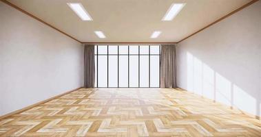 uma grande janela no centro da sala cercada por paredes brancas e piso de madeira