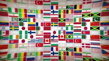 wereld landen vlag pictogrammen met lens fx achtergrond lus video