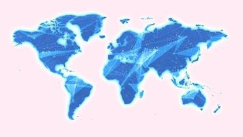animação de fundo de tecnologia global de mapa mundial video