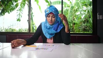 Woman wearing a hijab disappointed with results in business papers. video