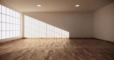 un gran vestíbulo con paredes blancas, pisos de madera y grandes ventanas video