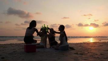 Group of Girls Drinking Beverage and Sitting at The Beach with A Sunset Background
