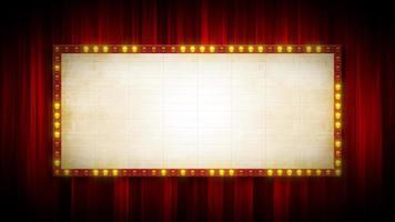sfondo del cinema di Broadway con segno tendone per testo e tende rosse