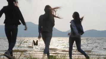Group of Girls Running to The Lake and Celebrating