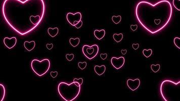 Fondo de mini corazón de neón abstracto video