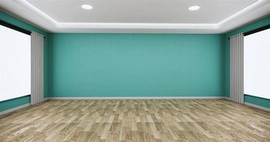 grande sala com uma parede cor de menta em um piso de madeira