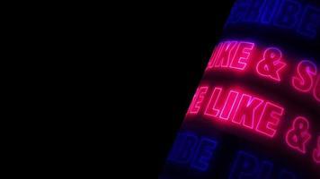 Bitte liken und abonnieren Sie leuchtend rosa blau Neon video