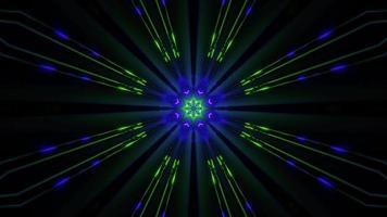 Néon de fleurs dans un tunnel sombre kaléidoscopique
