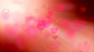 Fondo de corazones voladores con rayos de luz