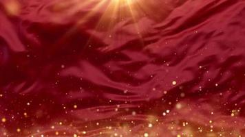 Magical sparks rising in red waves background