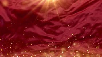 des étincelles magiques s'élevant sur fond de vagues rouges
