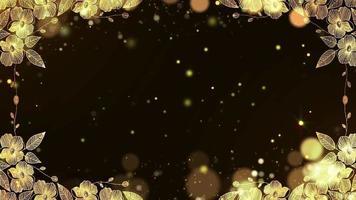 el oro brilla con el marco de la frontera de flores doradas