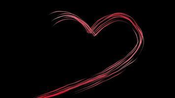 líneas rojas en forma de corazón sobre un fondo negro