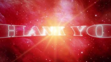 obrigado animação em movimento no universo do céu estrelado video