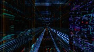 un futuristico labirinto di fasci di luce
