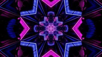 Renderização em 3D de néon roxo e azul e estrela em espiral