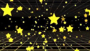 volando a través de una pared de estrellas amarillas