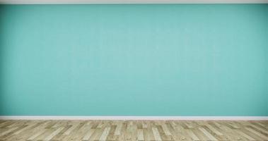 een grote lege kamer met een houten vloer en een groene muur