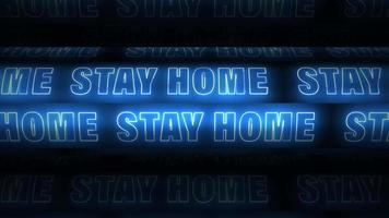 STAY HOME blue neon screen sign scrolling looping  video