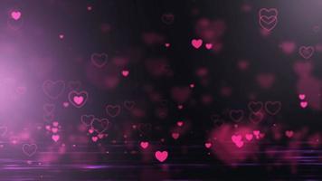 Flying Hearts Dark Background