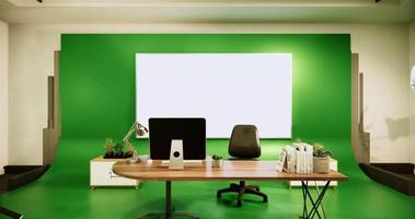 Studio with an Office Desk and A Green Background video