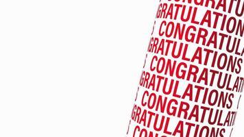 Felicitaciones texto en 3d de color rojo con espacio de copia