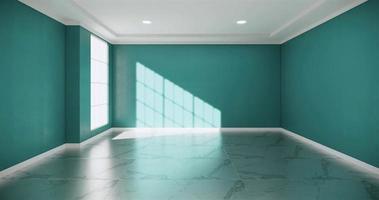 sala vazia com paredes de hortelã e piso de granito