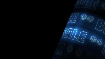 Gran venta de texto de neón azul girando con espacio de copia video