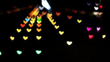 Blurred heart shaped lights of mall