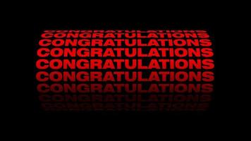 CONGRATULATIONS red 3D text tube animation black background