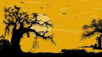fundo panorâmico de animação de halloween