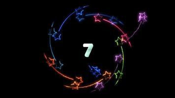 estrelas mágicas rolando em torno de números de contagem regressiva
