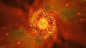 bucle ardiente planeta de fuego ardiente con onda caótica video