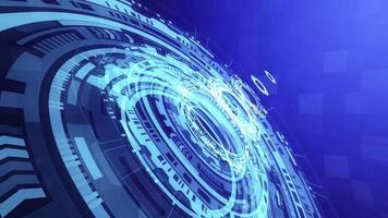 3d azul tecnológico hud holograma em looping abstrato video