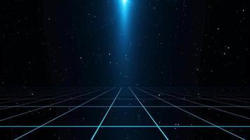 fond de paysage de grille futuriste de science-fiction de style rétro