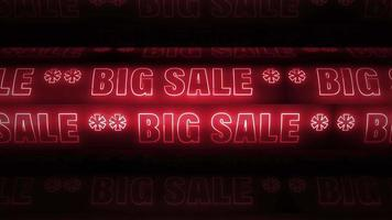 grande venda palavra neon vermelho girando