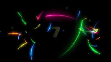 Rainbow neon arrows and count down numbers video