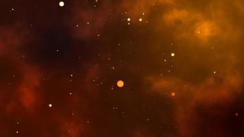 bokeh abstrato partículas brilhantes e fundo de nuvem de chamas negras