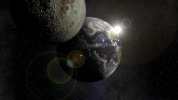 The Planet Earth And Moon In Space
