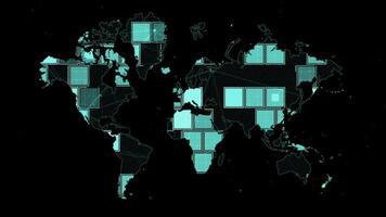 animierter Hintergrund der digitalen Weltkarte des Rechtecks video