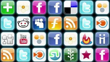 uma grade de ícones de mídia social