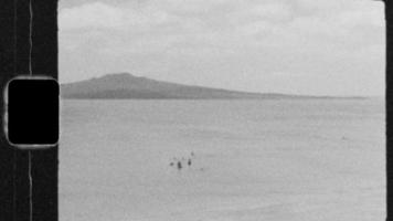 Super 8 Black and White - Family playing in the water