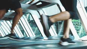Athletic Men and Women Running Exercise on Treadmills video