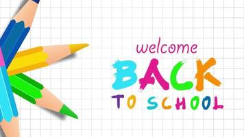 Willkommen zurück in der Schule mit bunten Stiften. video