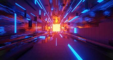 animation en boucle d'un couloir de science-fiction brillant