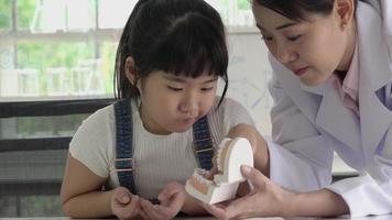 dentista ensinando menina sobre cárie dentária