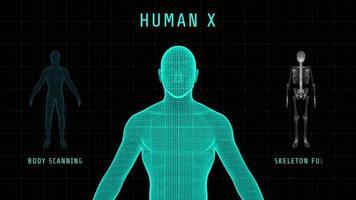 Tela digital 3D de corpo e esqueleto