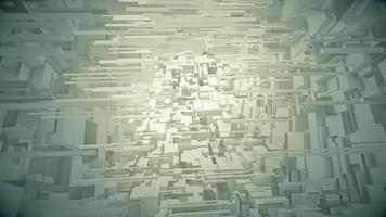 voando em um túnel de cubos brancos video