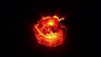 esfera de turbulência de fogo de energia futurista com canal alfa