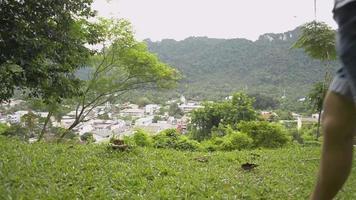 vista traseira de turista caminhando no gramado e tirando fotos do topo da colina